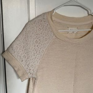 Lou & Grey Knit Tee with Lace Shoulders